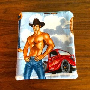 iPad Tablet MANLY COWBOY print case cover padded